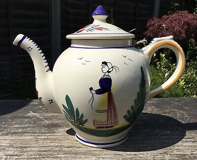 Old Vintage French Henriot Quimper Faience Lady Decorated 1.5 Litre Teapot • 29.99£