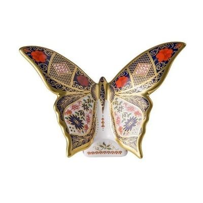New Royal Crown Derby 1st Quality Imari Solid Gold Band Butterfly Paperweight • 190£