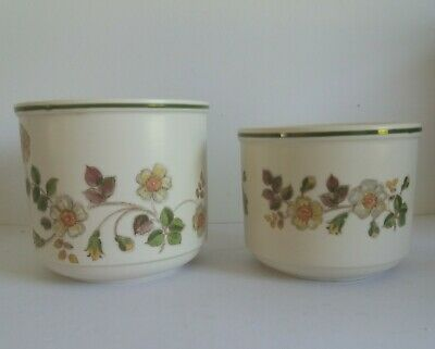 Pair Vintage Marks And Spencer's Ceramic Planters ' Autumn Leaves ' • 10£