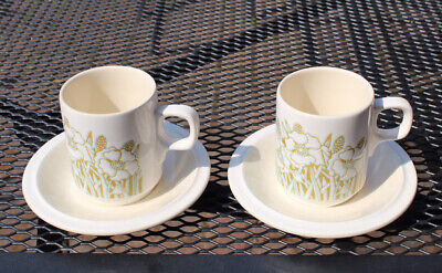 Vintage Hornsea Fleur Coffee Cups And Saucers (x2) • 4.50£