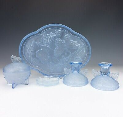 Vintage Butterfly Decorated Blue Frosted Glass Dressing Table Set - Art Deco! • 19.99£