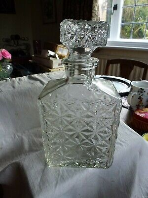 Square Glass Decanter Weighs 745gms 20cm High Base 10cm X 8cm Perfect Condition • 3£