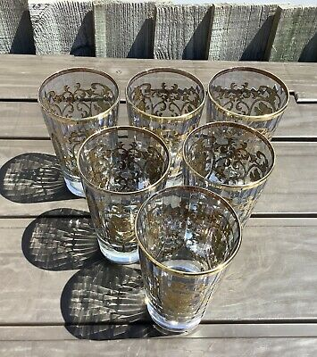 Italian Lemonade Crystal Glasses - 24 K Real Gold Gilding - Heavy -Well Balanced • 11.99£