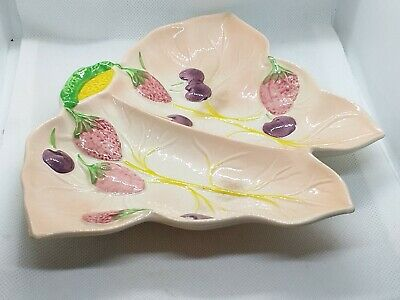 Art Pottery Avon Ware Strawberry & Cherries On Leaf Pattern Dish • 12£
