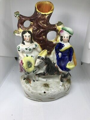 Antique English Staffordshire Pottery  Couple Spill Vase - Victorian ?  Goat • 19.99£