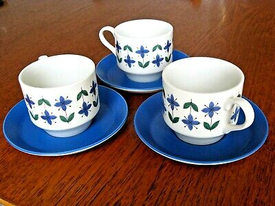 VINTAGE RETRO MIDWINTER   ROSELLE  CUPS AND SAUCERS X3 • 4.99£