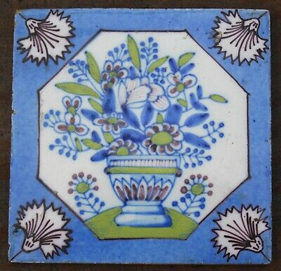 Very Rare 18th Century ENGLISH DELFT TILE Polycrome Decorated London 1740 • 295£