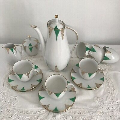 VINTAGE Art Deco Inspired 1950S Coffee Set X 6 Settings White Green Gold • 18.99£