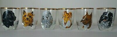 Mid Century Festive Decorated Glassware Set Of 6 Glasses With Dog Designs • 8£