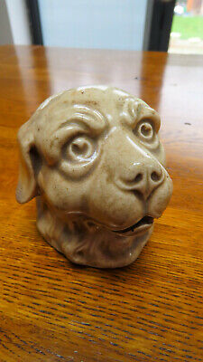 19c.POTTERY OLD / VINTAGE DOGS HEAD MONEY BOX  ???? STAFFORDSHIRE • 29.96£