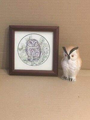 Two Owl Items. A Ceramic Figure & A Square Framed Picture. • 7£