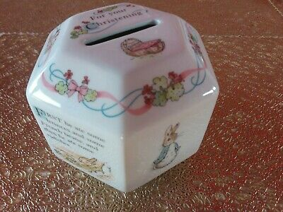 MINT CONDITION Wedgewood Peter Rabbit Christening Child's Money Box Perfect Gift • 5£