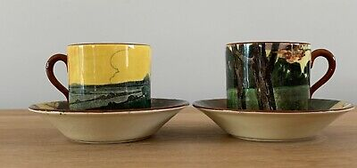 Attractive Pair Of Royal Doulton Landscape Decorated Coffee Cans & Saucers C1930 • 0.99£