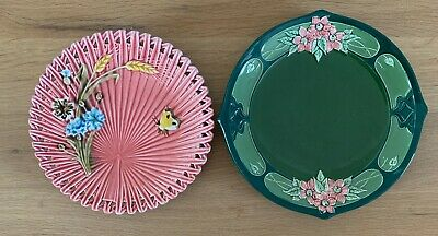 Fine Eichwald Art Nouveau & Unmarked German Majolica Reticulated Plate C1900 • 3.20£