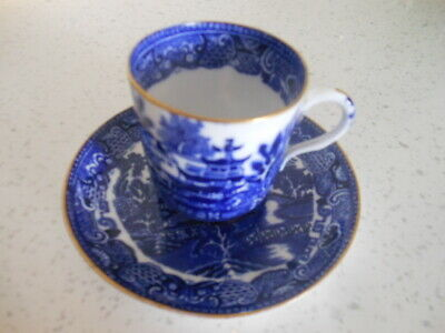 Espresso Cup And Saucer Blue /White Willow Style • 10£