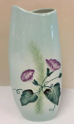 Lovely Carlton Ware Hand Painted Green And Floral Vase (D4) • 4.99£