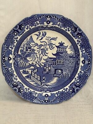 """Beautiful Old Vintage Plate Blue Willow Pattern English Burleigh Ware 10"""" • 10£"""
