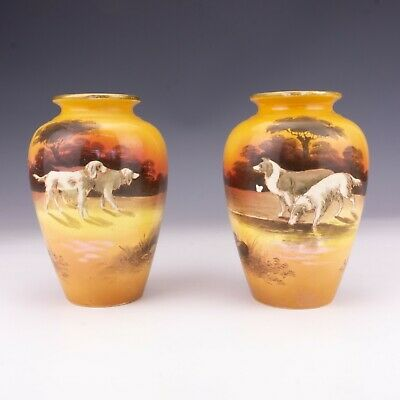 Fieldings & Co - Pair Of Crown Devon Hand Painted Dog Decorated Vases - Signed • 5.50£