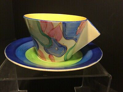 Clarice Cliff, A Blue Chintz Pattern Conical Tea Cup & Saucer, Some Damage • 38£