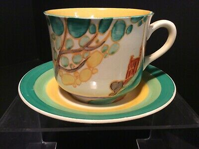 Clarice Cliff A Secrets Pattern Unusual Shape Cup & A Smaller Saucer,some Damage • 35.99£
