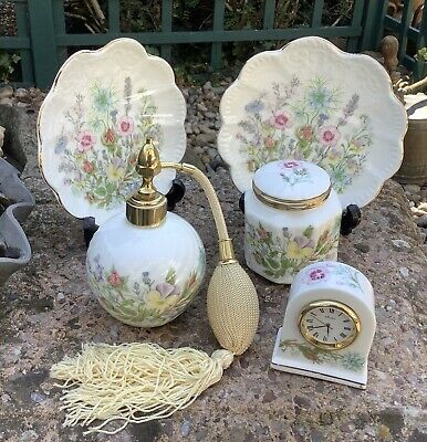 Aynsley Wild Tudor Collection - Perfume Spray, X 2 Dishes, Trinket Pot & Clock • 8.99£
