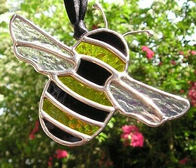 Stained Glass Bumble Bee, Suncatcher, Handmade In England • 29£
