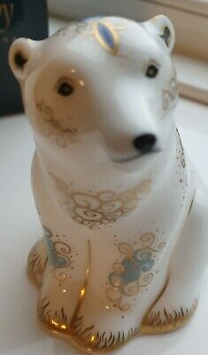 Royal Crown Derby Paperweight Polar Bear Cub Sitting. Gold Stopper. Boxed • 35£