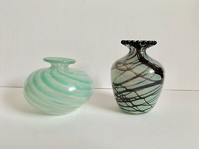 Two Early Island Studio Glass Vases Signed 1980s M.Harris • 25£