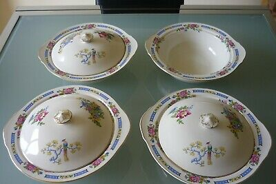 Lord Nelson Ware TSING Pottery Serving Dishes X 4, Lids X 3 • 24£