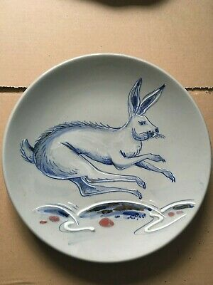 An IMPRESSIVE Highland Stoneware CHARGER Hand Painted Hare Rabbit 30cm Diameter • 112£