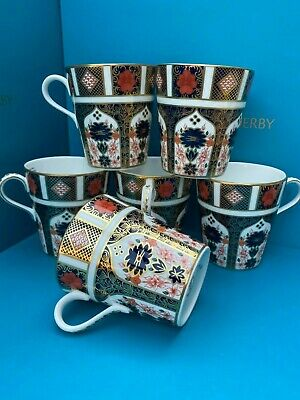 New Royal Crown Derby 2nd Quality Old Imari 1128 Set Of 6 X Mugs • 360£