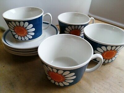 Daisy Turi Design Teacups, Made In Norway, Set Of 4 • 0.99£