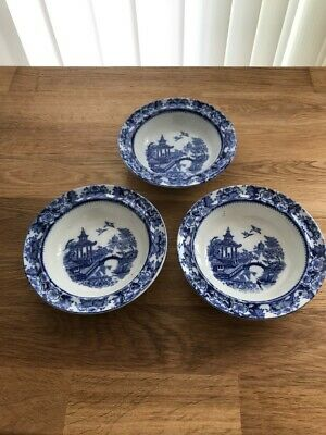 Antique England Blue And White Bowls/dishes, Willow Pattern - X 3 • 9.99£