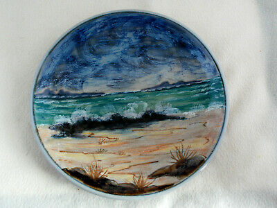 Large Rare Highland Stoneware Wall Plate Plaque Signed Initials Stormy Sea Dsg • 49.99£