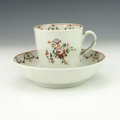 Antique New Hall Porcelain - Hand Painted Flower Garland Cup & Saucer - Nice • 9.99£
