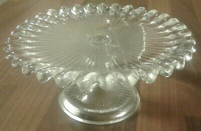 Vintage Style Clear Glass Cake Stand -7  In Diameter • 4£