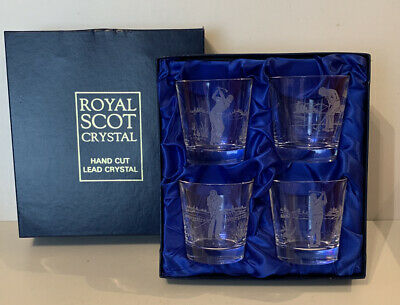 Royal Scot Crystal Set Of 4 Hand Cut Lead Crystal Tumblers - Golf Etched Detail • 48£