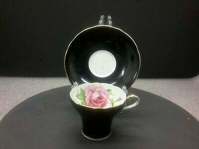 Vintage Aynsley England Bone China Tea Cup & Saucer  Black And Gold /floral  • 20£