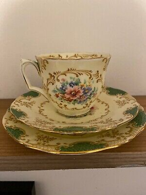 Antique Crown Staffordshire Trio Plate Cup Saucer Pattern F14753 Green Floral • 22£