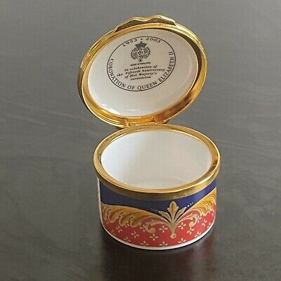 Royal Worcester Trinket Pill Box, 50th Anniversary Of HM The Queen's Coronation • 9£
