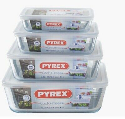 Pyrex Glass 4-Piece Set Food Container Bowl Storable Baking Freezing Microwave • 37.98£