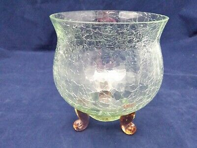Beautiful Vintage Green Crackle Glass Footed Bowl • 18£