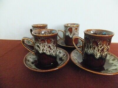 Fosters Pottery Coffee Cup And Saucer X 4 • 15£