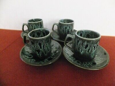 Fosters Pottery Green Coffee Cup And Saucer X 4 • 12£