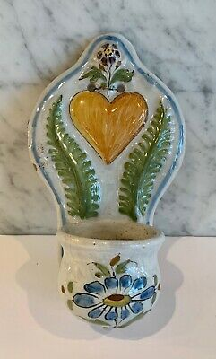 Antique French Faience Heart Handpainted Benetier Holy Water Wall Font 19th C • 67.09£