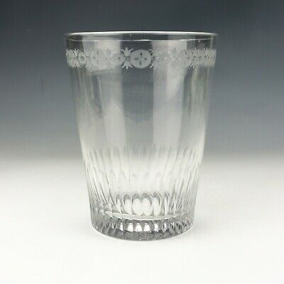 Antique Georgian Glass - Flower  Decorated Drinking Glass • 33£