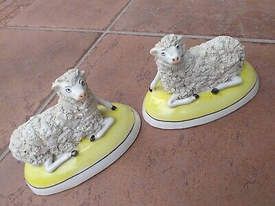 Staffordshire Figures VICTORIAN Model Sheep PAIR TWO Pottery ANTIQUE Ceramic Old • 50£