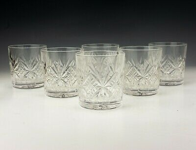 Vintage Set Of Cut Crystal Glass - Small Whisky Spirit Tumbler Drinking Glasses • 14.99£