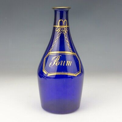 Antique Georgian Bristol Blue Glass - Gilt Decorated Rum Decanter - Unusual! • 8.80£