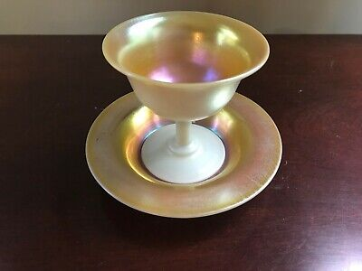 Carder Steuben Gold Aurene Calcite Sherbet With Underplate • 229.81£